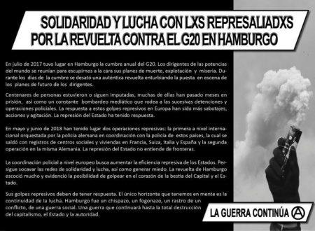 Manifesto: Solidarietà e lotta con i colpiti per la rivolta contro il G20 ad Amburgo