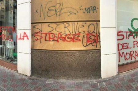 Cagliari – Scritte contro negozio Benetton