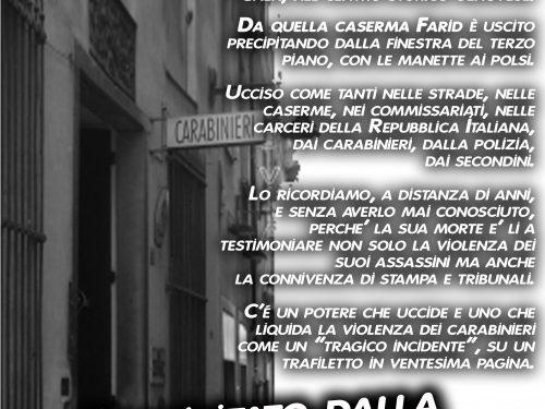 Genova – Manifesto per Farid Aoufi, ucciso dai carabinieri dieci anni fa