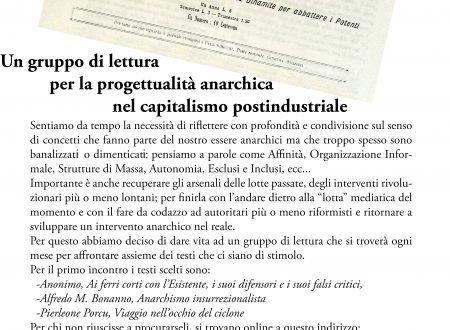 """""""Concetti e Interventi"""" Un gruppo di lettura per la progettualità anarchica nel capitalismo postindustriale"""