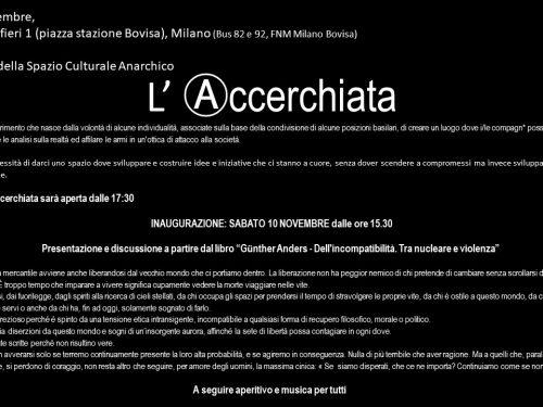 Milano – Inaugurazione nuovo spazio culturale anarchico L'ACCERCHIATA