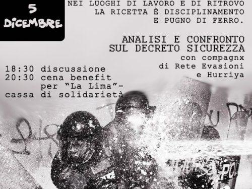Roma 05/12/2018 – Analisi e confronto sul decreto sicurezza – Cena benefit La Lima @ BAM