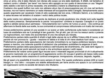 Lecce – Sgomberata la Canaglia Occupata