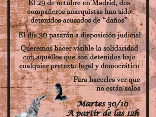 Spagna: Sull'arresto di due anarchici, il 29 ottobre a Madrid