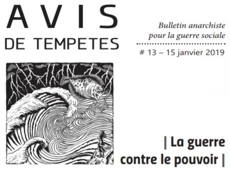 E' uscito Avis de Tempêtes Numero 13 – Bollettino anarchico per la guerra sociale (Gennaio 2019)