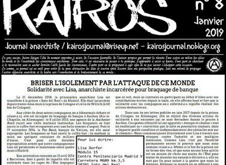 """Francia: Uscito n° 8 di """"Kairos"""" – giornale anarchico in lingua francese (01/2019)"""