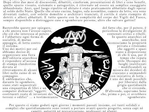 Lecco – Comunicato sullo sgombero di Villa Brick Anarchica