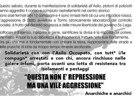 Brescia – Volantino distribuito in solidarietà all'Asilo