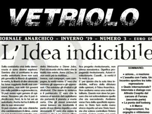 """Italia: E' uscito il numero 3 del giornale anarchico """"Vetriolo"""" (Inverno 2019)"""