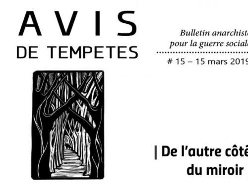 E' uscito Avis de Tempêtes Numero 15 – Bollettino anarchico per la guerra sociale (Marzo 2019)