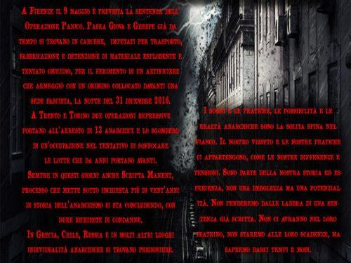 Senza Tregua Per L'Anarchia! Manifesti per il presidio a Firenze del 20 aprile