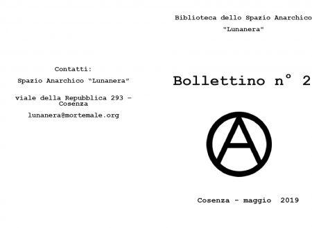 """Disponibile il bollettino n. 2 – biblioteca Spazio Anarchico """"Lunanera"""" – Cosenza"""