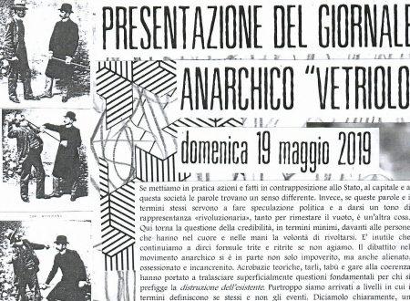 """Lucca, 19.05.19: Presentazione del giornale anarchico """"Vetriolo"""" e dibattito"""