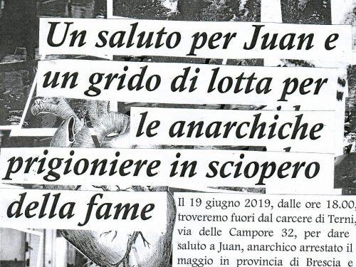 Terni, 19 giugno: Un saluto per Juan e un grido di lotta per le anarchiche prigioniere in sciopero della fame