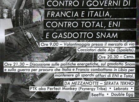 Spoleto, 26 luglio: Giornata contro la guerra in Libia, contro i governi di Francia e Italia, contro Total, ENI e gasdotto Snam