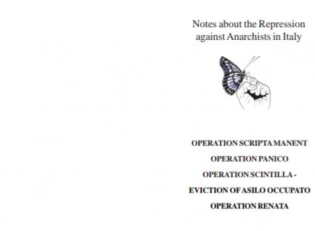 Note sulla repressione contro gli anarchici in Italia