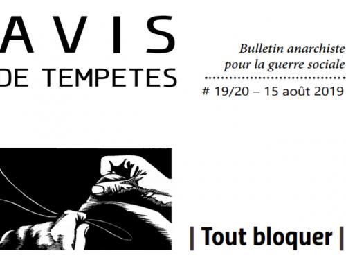E' uscito Avis de Tempêtes Numero 19/20 – Bollettino anarchico per la guerra sociale (Luglio/Agosto 2019)