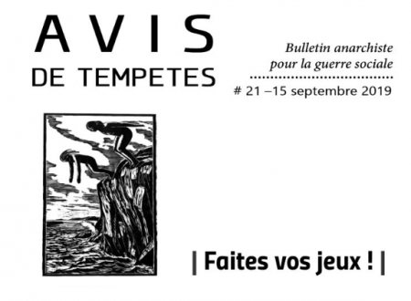 E' uscito Avis de Tempêtes Numero 21 – Bollettino anarchico per la guerra sociale (Settembre 2019)