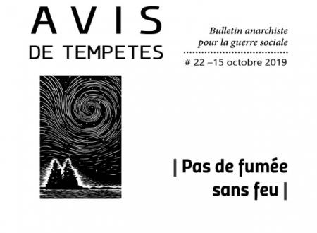 E' uscito Avis de Tempêtes Numero 22 – Bollettino anarchico per la guerra sociale (Ottobre 2019)