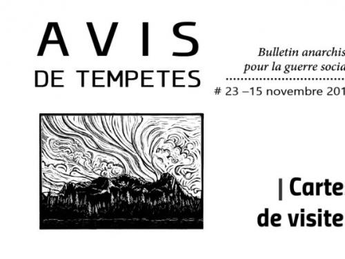 E' uscito Avis de Tempêtes Numero 23 – Bollettino anarchico per la guerra sociale (Novembre 2019)