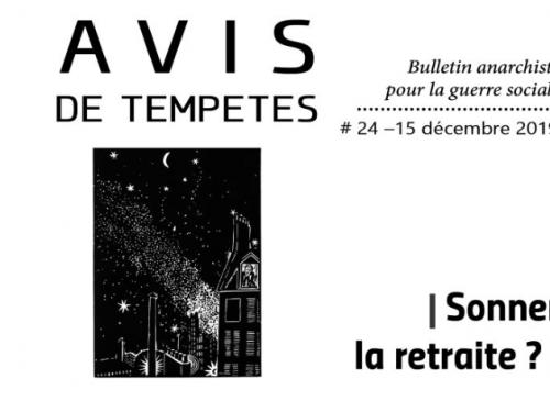 E' uscito Avis de Tempêtes Numero 24 – Bollettino anarchico per la guerra sociale (Dicembre 2019)