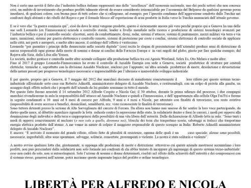 Genova- volantino in solidarietà con Alfredo e Nicola