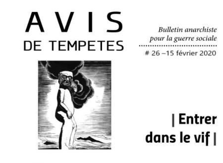 E' uscito Avis de Tempêtes Numero 26 – Bollettino anarchico per la guerra sociale (Febbraio 2020)