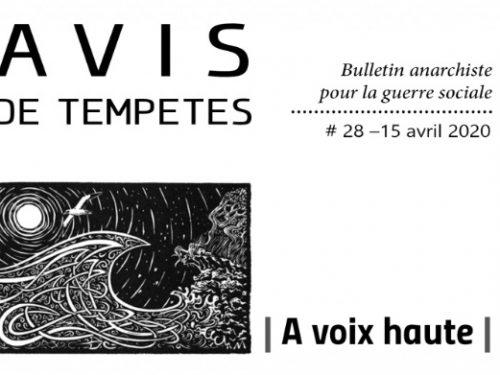 E' uscito Avis de Tempêtes Numero 28 – Bollettino anarchico per la guerra sociale (Aprile 2020)