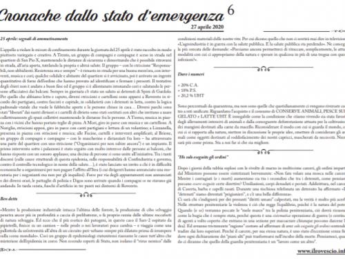 Cronache dallo Stato di Emergenza n° 6 – Foglio murale dal Trentino