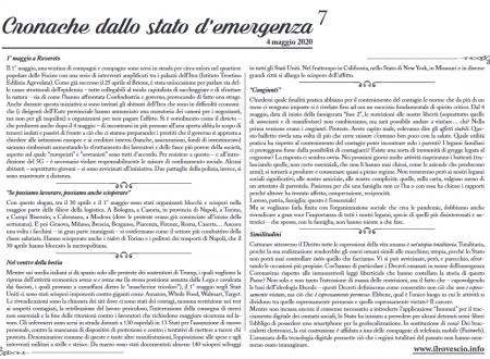 Cronache dallo Stato di Emergenza n° 7 – Foglio murale dal Trentino