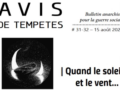 E' uscito Avis de Tempêtes Numero 31/32 – Bollettino anarchico per la guerra sociale (Agosto 2020)