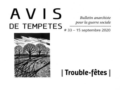 E' uscito Avis de Tempêtes Numero 33 – Bollettino anarchico per la guerra sociale (Settembre 2020)