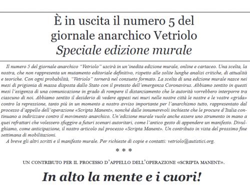 È in uscita il numero 5 del giornale anarchico Vetriolo – Speciale edizione murale
