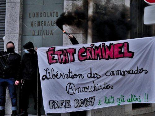 Lione: Azione a sostegno dei prigionieri anarchici italiani