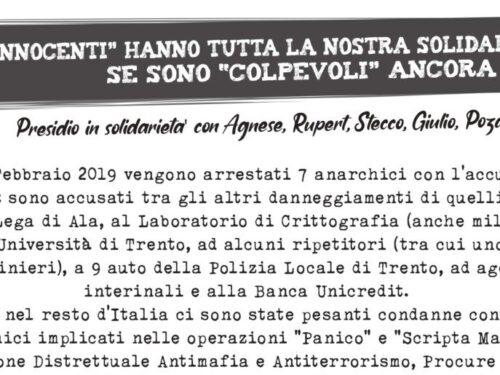 Presidi a Trento il 20-22 Febbraio per il processo Operazione Renata