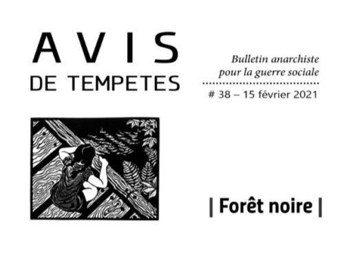 E' uscito Avis de Tempêtes Numero 38 – Bollettino anarchico per la guerra sociale (Febbraio 2021)
