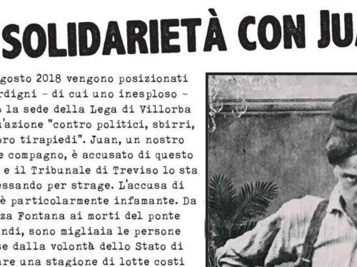 Treviso – Presidio in solidarietà a Juan