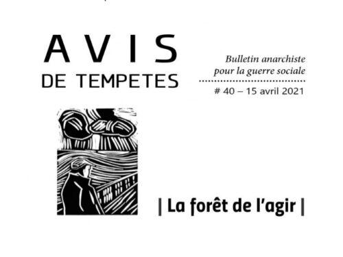 E' uscito Avis de Tempêtes Numero 40 – Bollettino anarchico per la guerra sociale (Aprile 2021)