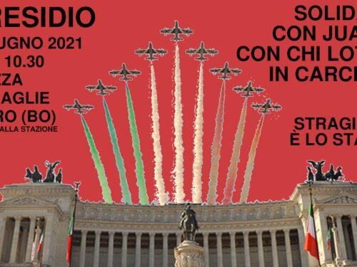 Bologna: 2 Giugno 2021 Presidio – Una repubblica fondata sulle stragi