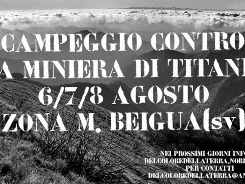 Campeggio contro la miniera di titanio sul monte Beigua