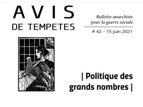 E' uscito Avis de Tempêtes Numero 42 – Bollettino anarchico per la guerra sociale (Giugno 2021)